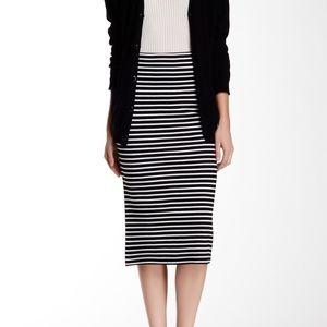 Sanctuary EUC Midi Black White Stripe Pencil Skirt